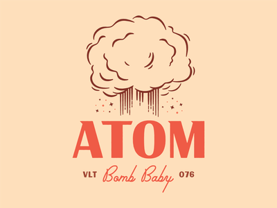 Atom Bomb Baby typography fallout nuclear bomb atom retro vintage illustration logo type lockup