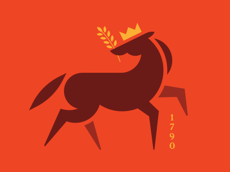 A Horse of Course wheat crown animal horse vector logo illustration