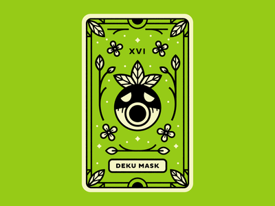 Deku Mask plants deku shrub flower line tarot card the legend of zelda majoras mask illustration