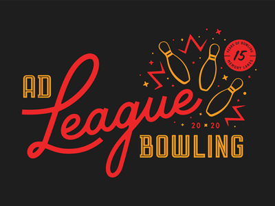 Ad League Bowling 2020 league bowling ball bowling pin lanes branding badge minneapolis illustration typography retro vintage logo bowling