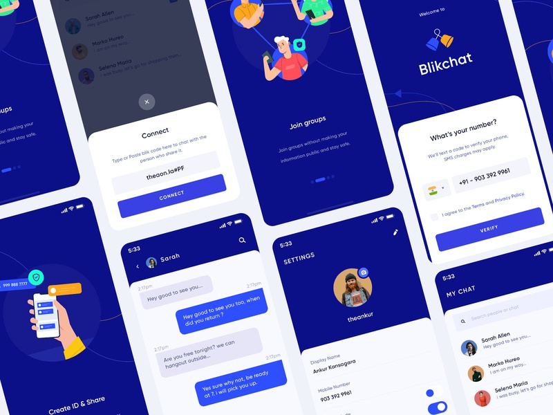 Blik Chat App Redesign splashscreen popup design login screen illustartion onboarding chat screen profile design profile chat app