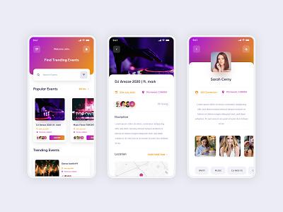 Event App UI Concept flat minimal location filter screen user screen profile event clean design clean ui event app