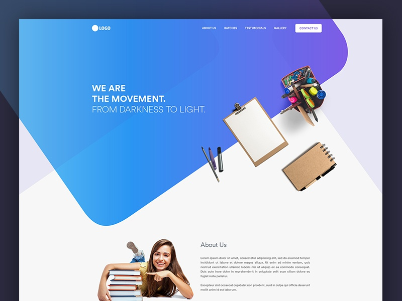 Education Landing Page Design study landing page clean student gradient header hero education
