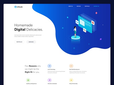 Digital agency or it company website design agency it company clean minimal trending landing page isometric illustration isometric digital agency