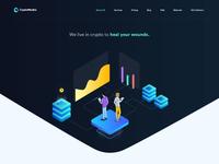CryptoMedics Landingpage design with svg animation