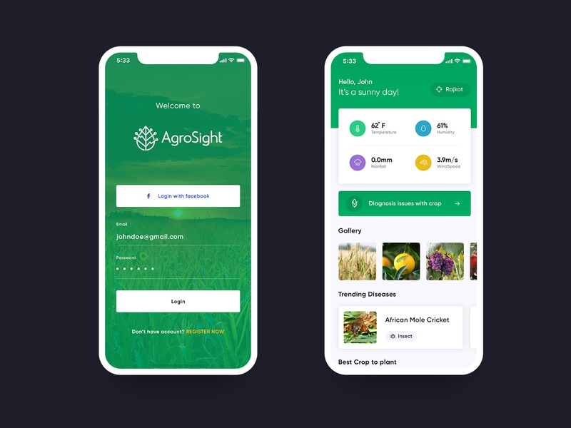 Agriculture App Design dashboard login diseases weather cards crop green agriculture app agro agri agriculture