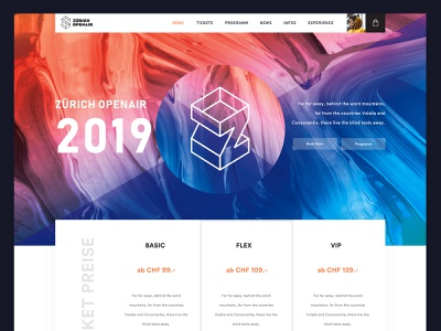 Zurich Openair Website redesign pricing minimal agency liquid animation liquidmotion colors event website event