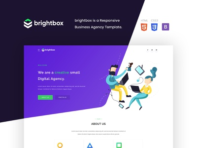 Brightbox - Business Agency Temlpate digital agency agency website contact us services profile about us clean landing page minimal illustration flat