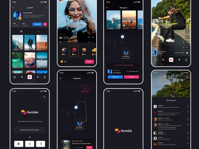 Rambble App design photos live streaming hotspot navigation comments map login profile video gift social feed rambble