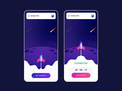 Space VPN app design spaceship star internet connection disconnect app connect vpn space