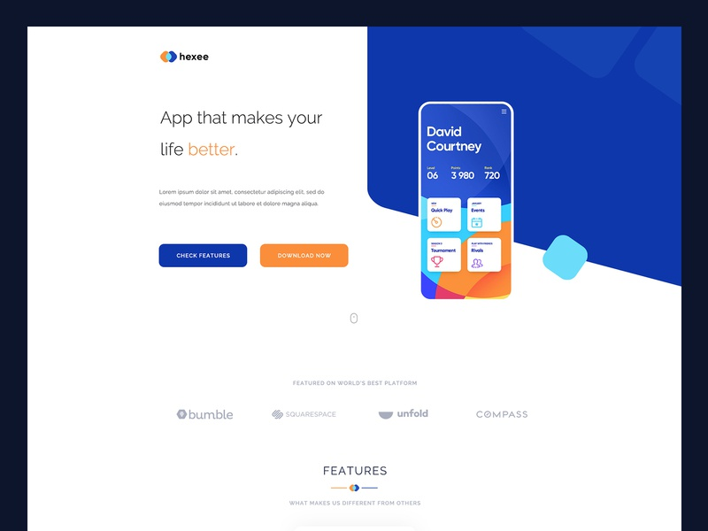 Hexee - responsive modern app landingpage template app preview features download services home page clean onepage app website landing page app landingpage