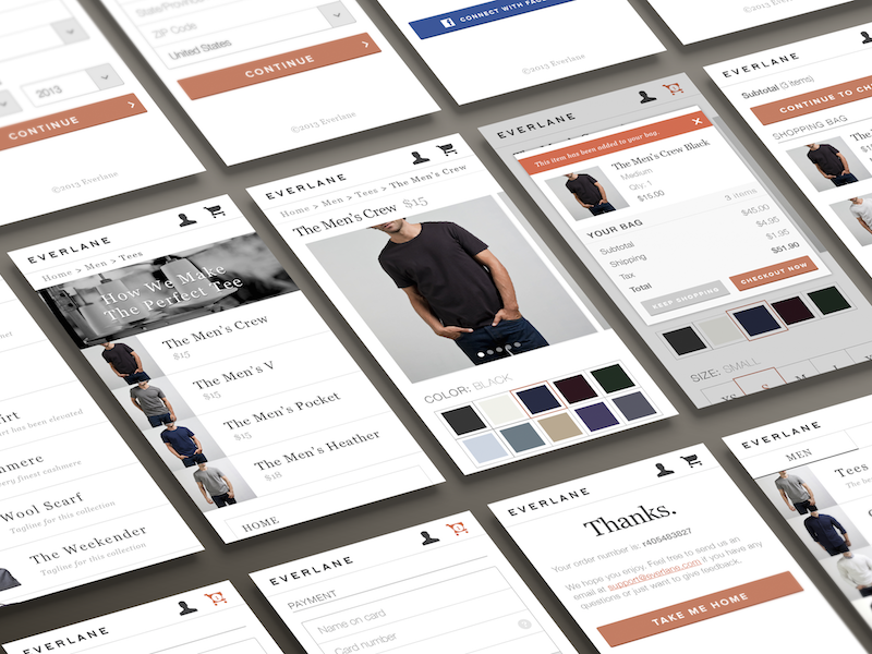Everlane Mobile  ios mobile ui ux checkout payment ecommerce cart everlane mobile web