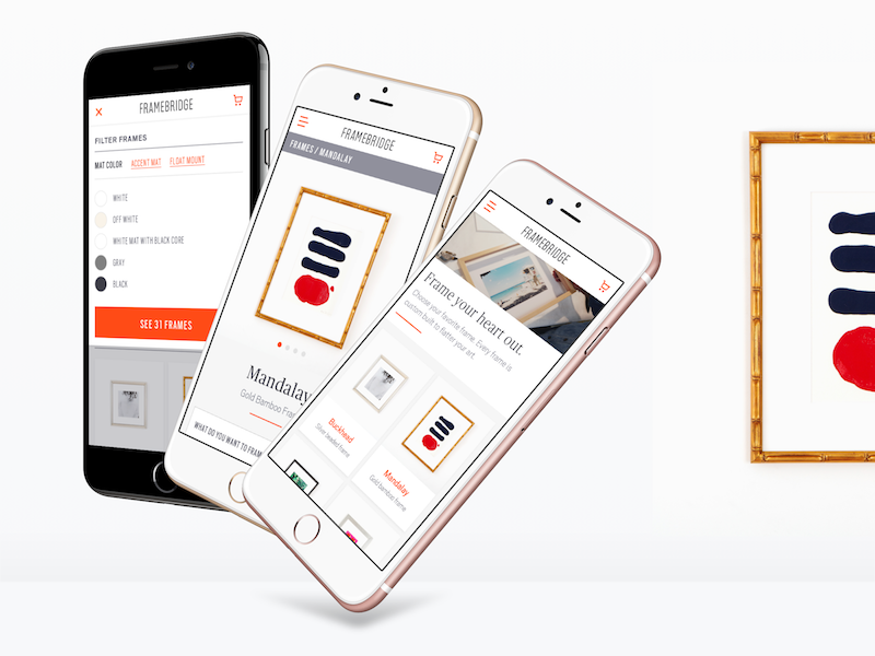 Framebridge ios product page checkout ecommerce mobile web mobile