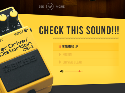 Daily UI #03 Landing Page rock sound music yellow black stompbox interaction ui gradient page landing dailyui