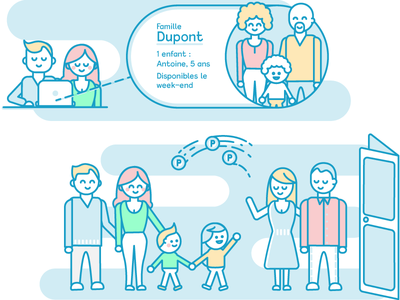 Child care Family characters illustration baby sitter blue stroke parents characters children family care illustration