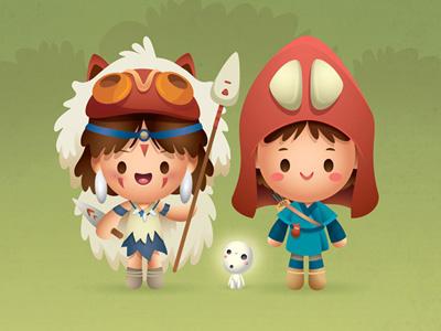 The Princess & The Warrior princess mononoke studio ghibli kawaii cute supahcute ashitaka san kodoma