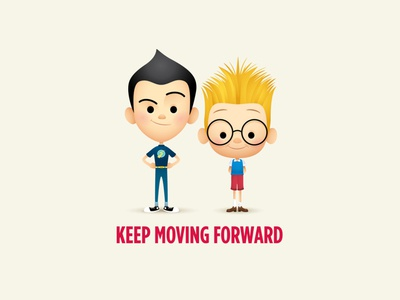 Keep Moving Forward adobe illustrator vector art kawaii illustration cute disney jerrod maruyama character design