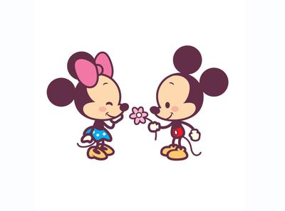 Mickey and Minnie disney illustration character design jerrod maruyama kawaii cute