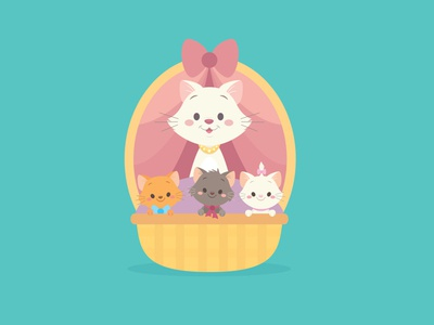 The Aristocats disney adobe illustrator vectorart character design illustration kawaii jerrod maruyama cute