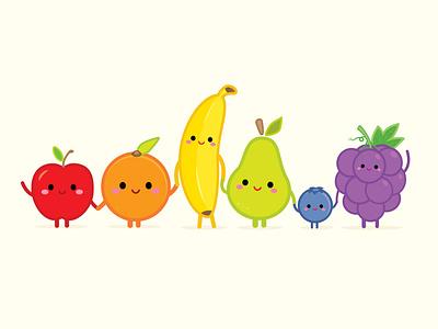 Happy Fruit adobe illustrator vector vector art illustration character design jerrod maruyama kawaii cute