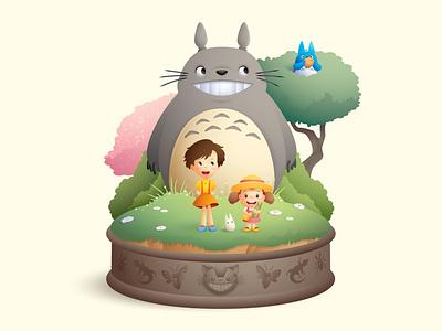 Totoro adobe illustrator vector art cute illustration character design kawaii jerrod maruyama