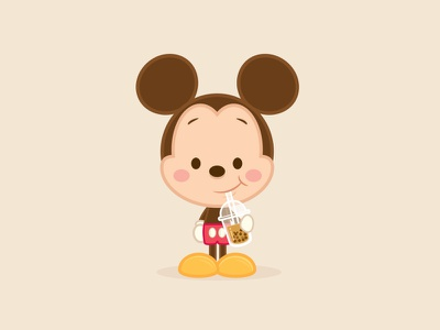 Boba Mickey jmaruyama mickey mouse adobe illustrator vector illustration disney character design jerrod maruyama kawaii cute
