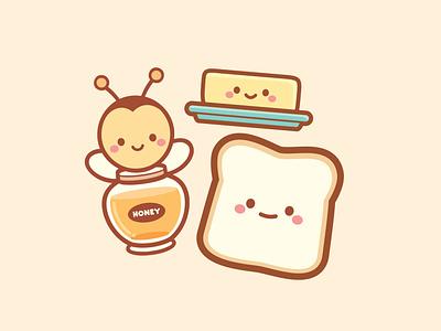 Honey Toast jmaruyama adobe illustrator vector illustration branding design character design jerrod maruyama cute kawaii