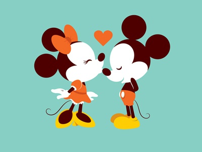 The Kiss (Color Variant) kawaii cute disney mickey mouse minnie mouse valentines day kiss heart