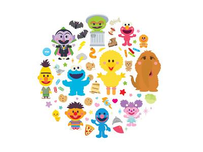 Sesame Street sesame street character design adobe illustrator vector illustration jmaruyama jerrod maruyama kawaii cute