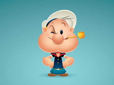 Popeye gallery 1988 character design adobe illustrator vector illustration jmaruyama jerrod maruyama kawaii cute art cute