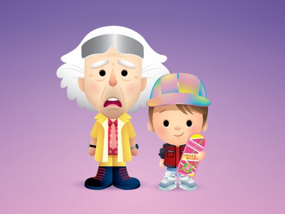 Marty and Doc jmaruyama adobe illustrator vector illustration character design kawaii cute jerrod maruyama