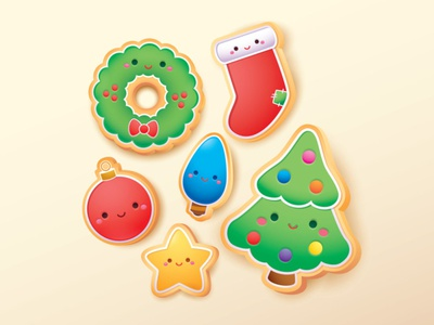 Christmas Cookies jmaruyama adobe illustrator vector illustration character design kawaii jerrod maruyama cute