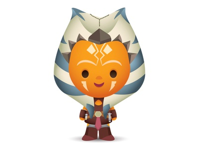Ahsoka mandalorian star wars adobe illustrator vector disney illustration jmaruyama character design kawaii jerrod maruyama cute