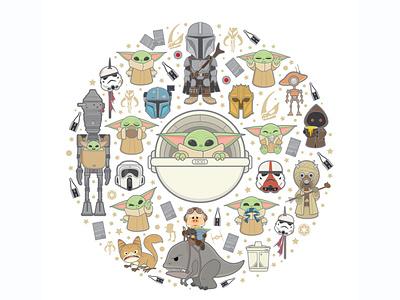 The Child the mandalorian star wars jmaruyama vector adobe illustrator illustration character design disney kawaii jerrod maruyama cute