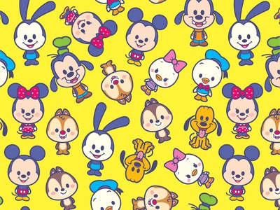 Kawaii Mickey and Friends - Pattern mickey mouse vector adobe illustrator jmaruyama illustration character design disney kawaii jerrod maruyama cute