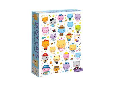 Busy Cats Puzzle jmaruyama adobe illustrator vector illustration character design kawaii jerrod maruyama cute