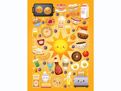 Breakfast Puzzle vector adobe illustrator jmaruyama illustration character design kawaii jerrod maruyama cute