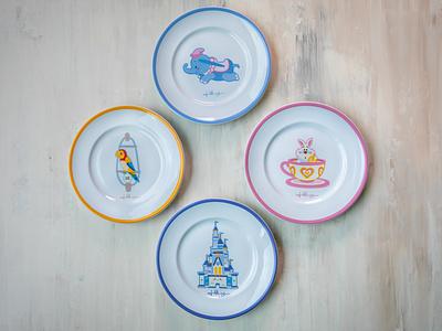 Disney X Jerrod Maruyama Plate Set vector adobe illustrator illustration wonderground gallery disneyland character design disney kawaii jerrod maruyama cute