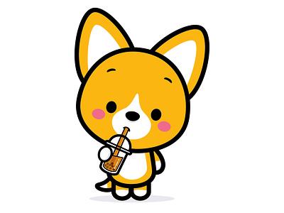 Corgi Boba vector jmaruyama adobe illustrator illustration character design kawaii jerrod maruyama cute