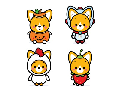 Corgi Costumes vector adobe illustrator illustration character design kawaii jerrod maruyama cute