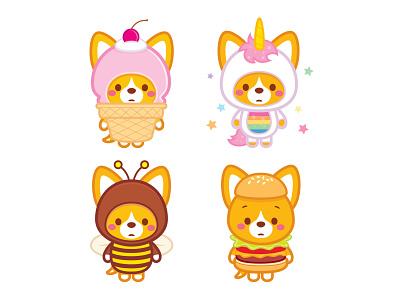Corgi Costumes jmaruyama vector adobe illustrator illustration character design kawaii jerrod maruyama cute