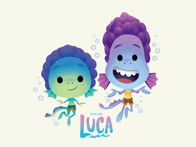 Luca and Alberto vector illustration disney character design kawaii jerrod maruyama cute