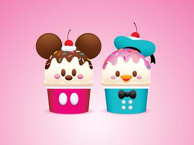 Mickey and Donald Ice Cream illustrator vector illustration character design disney kawaii jerrod maruyama cute