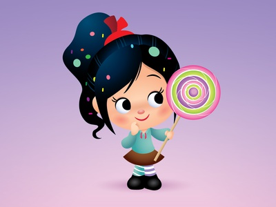 Vanellope von Schweetz adobe illustrator vector illustration character design disney kawaii jerrod maruyama cute