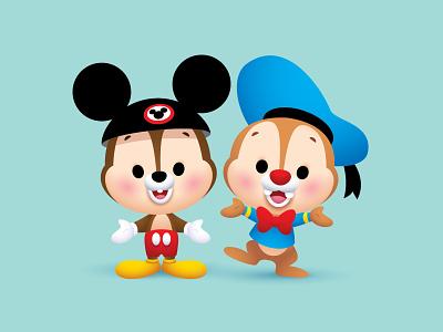 Chip and Dale vector adobe illustrator illustration character design disney kawaii jerrod maruyama cute