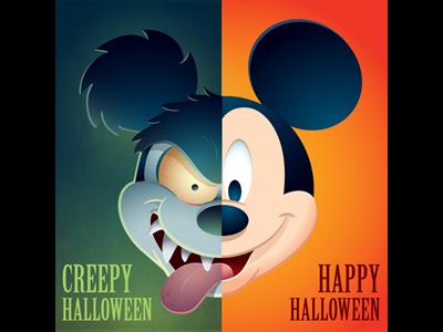 Happy Halloween mickey mouse disney jerrod maruyama runaway brain