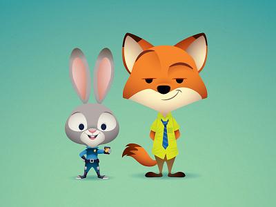 Judy and Nick judy hopps nick wilde jerrod maruyama walt disney animation disney zootopia