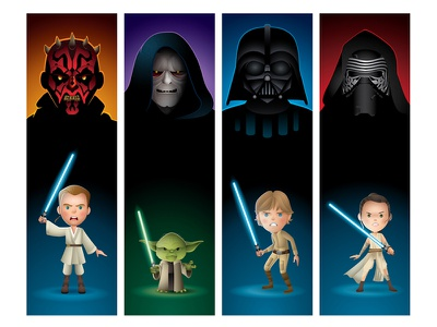 The Dark Side & The Light palpatine obi wan kenobi yoda rey kylo ren darth maul luke skywalker sith jedi star wars