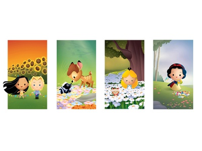 Blossoming Friendships character art bambi cute kawaii pocahontas snow white epcot wonderground gallery disney
