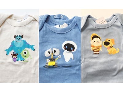 Pixar Baby russell. sulley dug eve wall-e monsters inc. up jmaruyama jerrod maruyama pixar studio store disney pixar